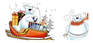 Polar Beach Christmas Sticker Sheet